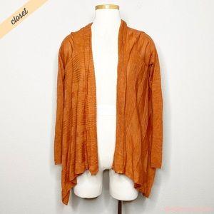 [Moth] Orange Drape Waterfall Open Front Cardigan